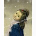 万葉睦月の版画「泡雪」