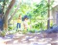 北沢優子の版画「空家探検」