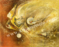 牧野鈴子の版画「Flying」