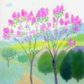 大西秀美の版画「春のこだま」