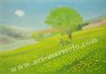 大西秀美の版画「はちみつ色の休日」