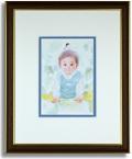 おおた慶文のポストカード額装「緑の中の赤ちゃん」額装
