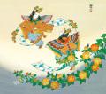 東聖観「胡蝶山吹の遊宴」源氏物語色紙