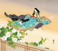 東聖観「夕顔儚し夕顔の花」源氏物語色紙