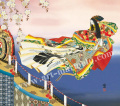 東聖観「竹河桜散る舞い」源氏物語色紙