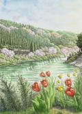 松本忠の版画「彩りの渓谷(かわ)」