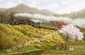 松本忠の版画「春の息吹き」