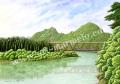 松本忠の版画「鉄橋を渡る風」