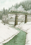 松本忠の版画「二月の橋梁」