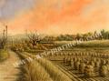 松本忠の版画「夕やけ色に包まれて」