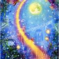 玉神輝美の版画「Moonlight Child」