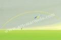 葉祥明の版画「虹の彼方へ」