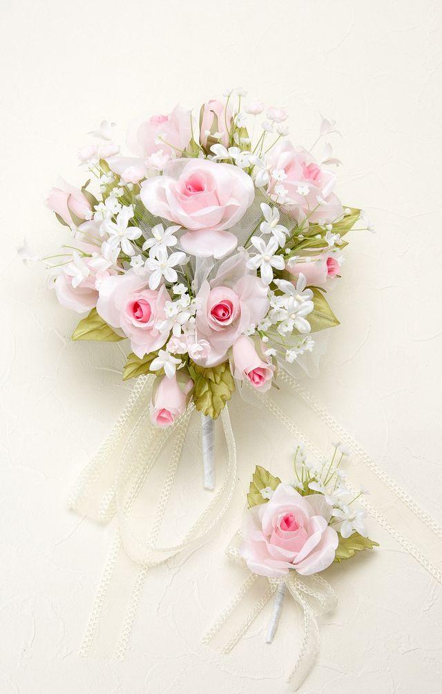 【アートフラワーブーケ】プリンセスローズコロニアルブーケ・ピンク/オーバル