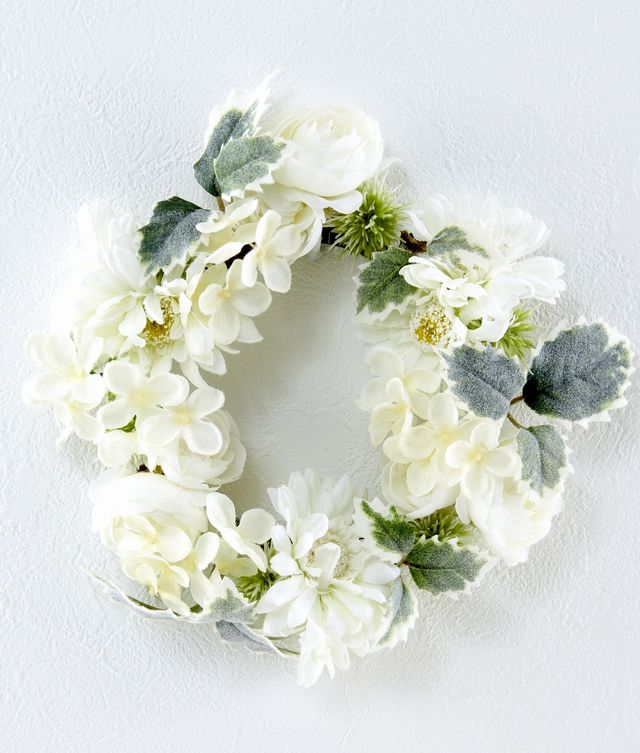 【造花リース】マカロンパステルリースL(ホワイト)