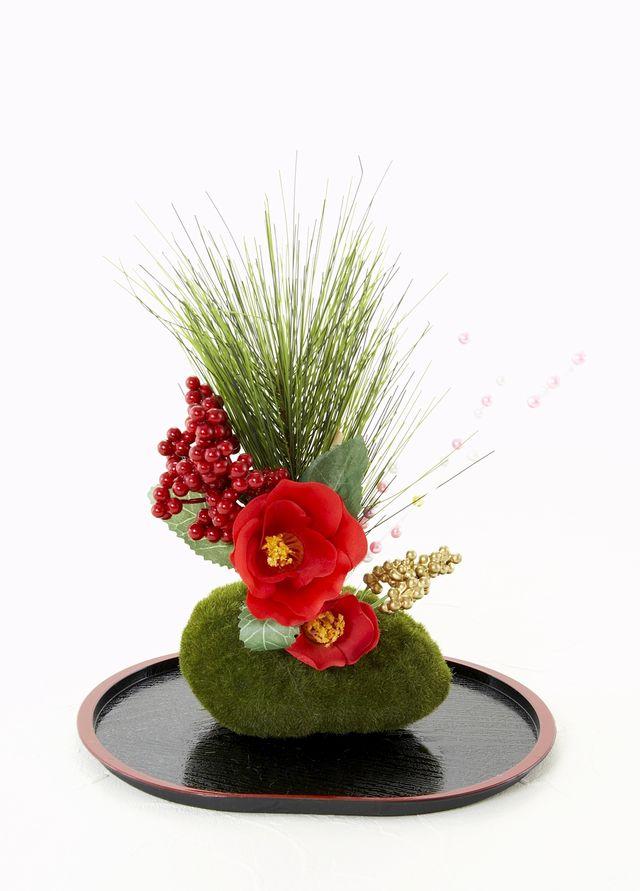 【造花・お正月向け・苔玉アレンジメント】祝華