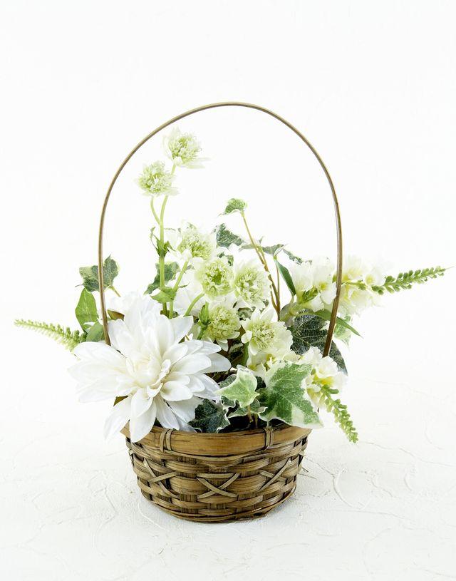 【造花・アーティフィシャルフラワー・カゴアレンジメント】ホワイト&グリーン・ナチュラルバスケット