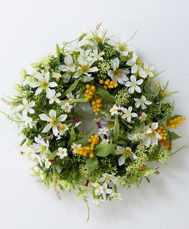 【造花・アーティフィシャルフラワーリース】フィールドガーデンフラワーリース