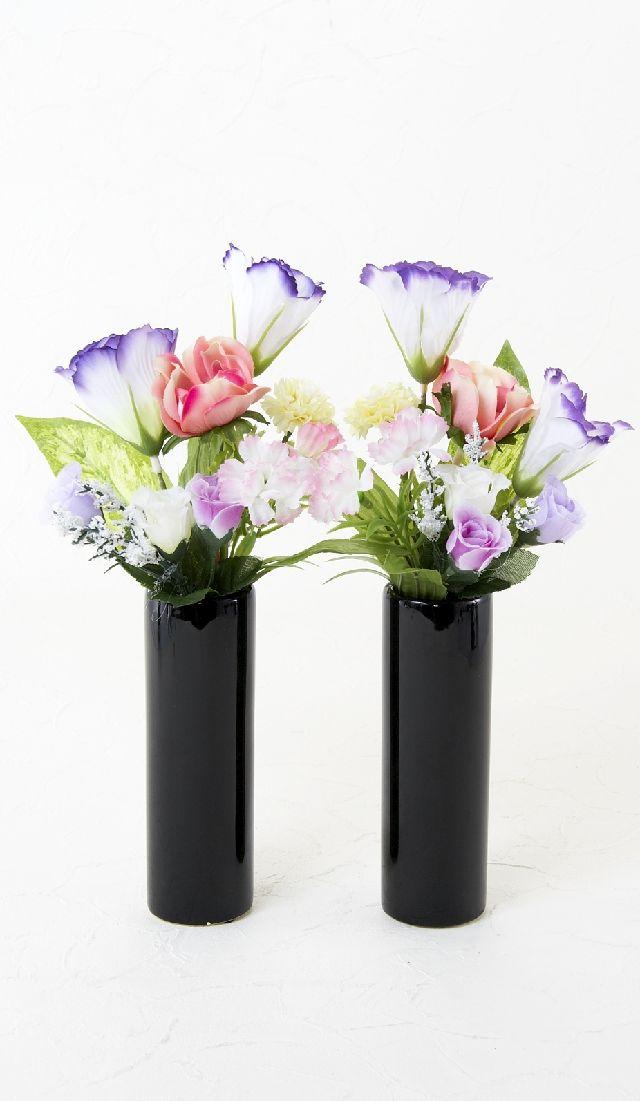 【造花 ミニ供花】トルコキキョウ&アネモネのミニ仏花セット(左右1対)
