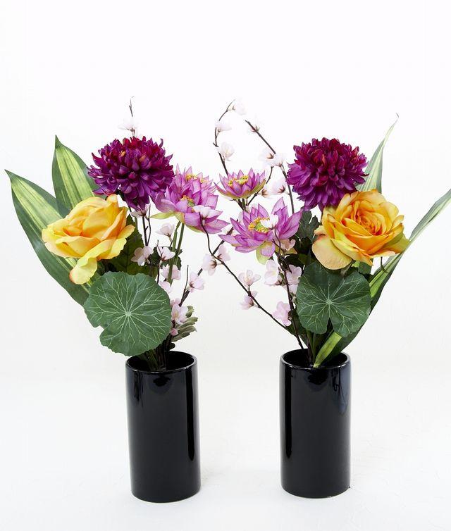 【造花 仏花 モダンデザイン】ロータス&マム&ローズの供花(左右1対セット)