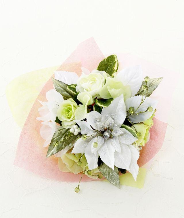 【造花花束&トスブーケ/2wayタイプ】バラとアルストロメリアのブーケ/ホワイトグリーン