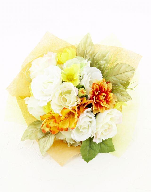 【造花花束&トスブーケ/2wayタイプ】バラとダリアのブーケ/ビタミンミックス