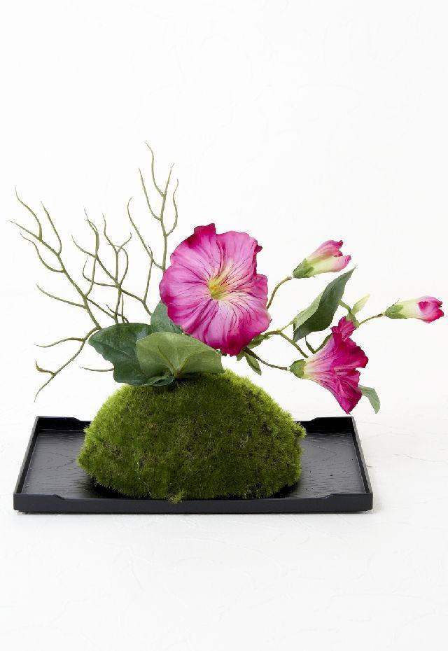 【造花 観葉植物 インテリアグリーン】こけ玉 ジャパーニーズモダンⅠ(下皿付き)
