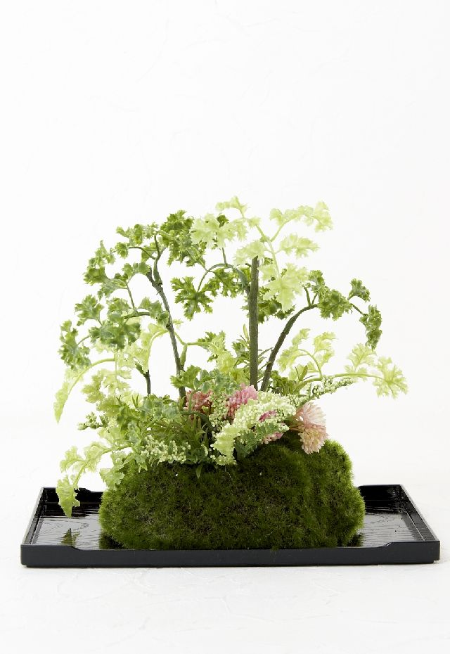 【造花 観葉植物 インテリアグリーン】こけ玉 ジャパーニーズモダンP(下皿付き)