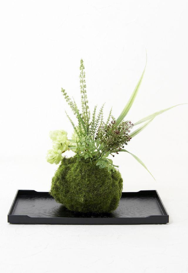 【造花 観葉植物 インテリアグリーン】こけ玉 ジャパーニーズモダンR(下皿付き)