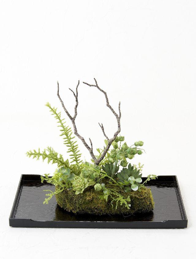 【造花 観葉植物 インテリアグリーン】こけ玉 ジャパーニーズモダンX(下皿付き)