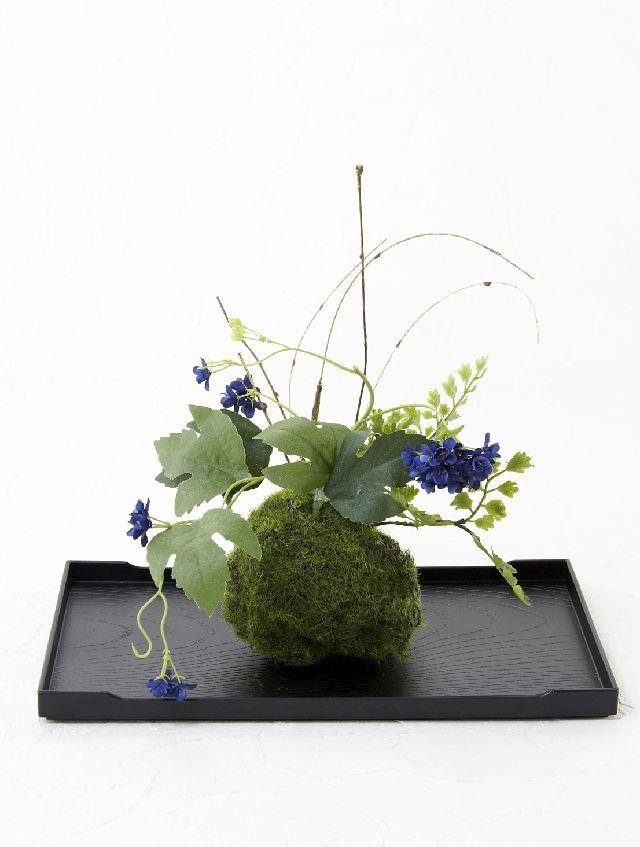 【造花 観葉植物 インテリアグリーン】こけ玉 ジャパーニーズモダン1(下皿付き)