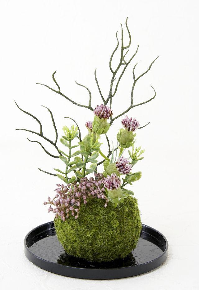 【造花 観葉植物 インテリアグリーン】こけ玉 和アレンジH(下皿付き)