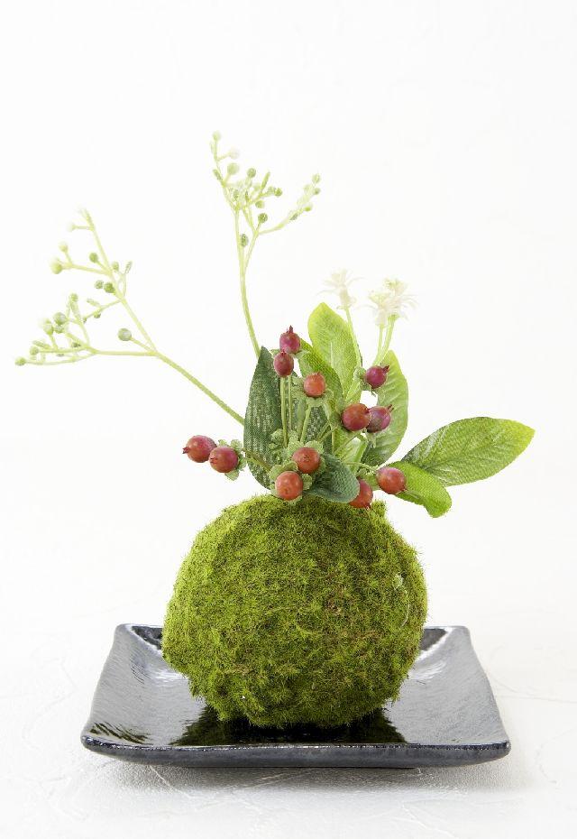 【造花 観葉植物 インテリアグリーン】こけ玉 和アレンジQ(下皿付き)