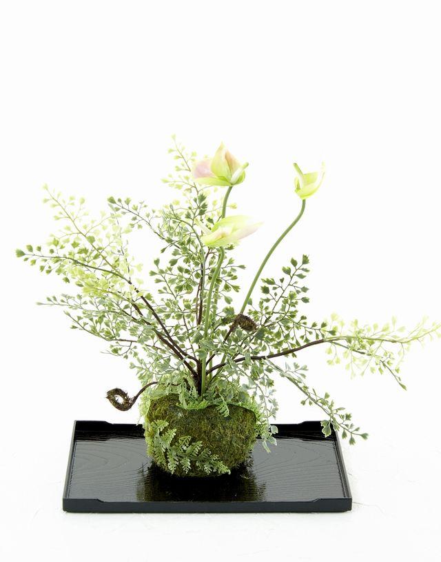 【造花 観葉植物 インテリアグリーン】苔玉 和風アレンジ3(下皿付き)