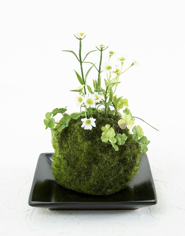 【造花 観葉植物 インテリアグリーン】苔玉 和風アレンジ8(下皿付き)