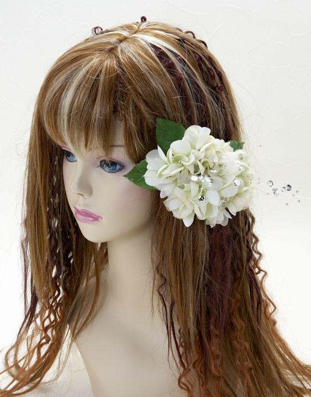 【特価SALE 髪飾り・ヘアアクセサリー】紫陽花-ライトグリーン・バレッタ