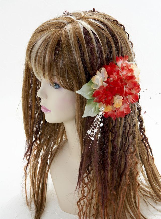 【特価SALE 髪飾り・ヘアアクセサリー】紫陽花-レッド×オレンジ・バレッタ