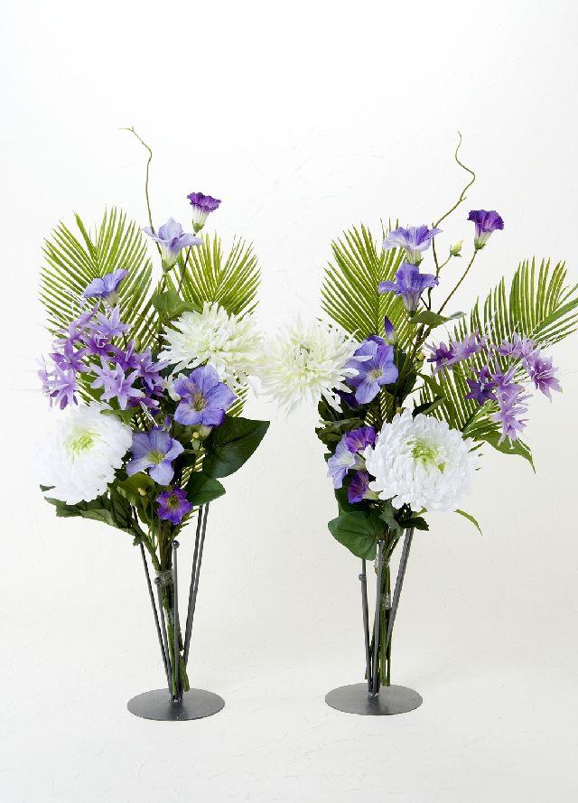 【造花の仏花・供花】マム&ノーブルペチュニアの供花(左右1対セット)