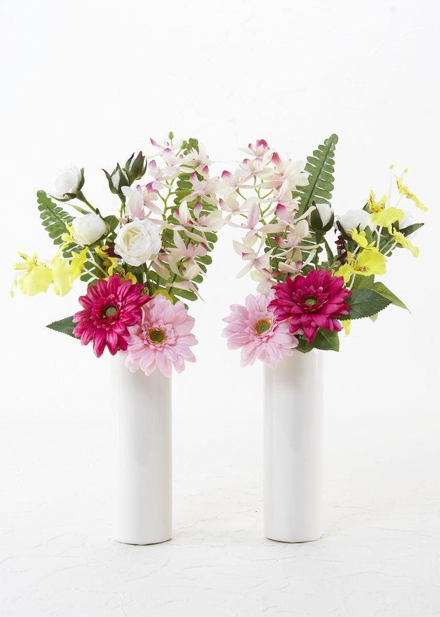 【お墓・仏壇用の造花 供花】ガーベラとオンシジュームのミニ仏花セット(左右1対)