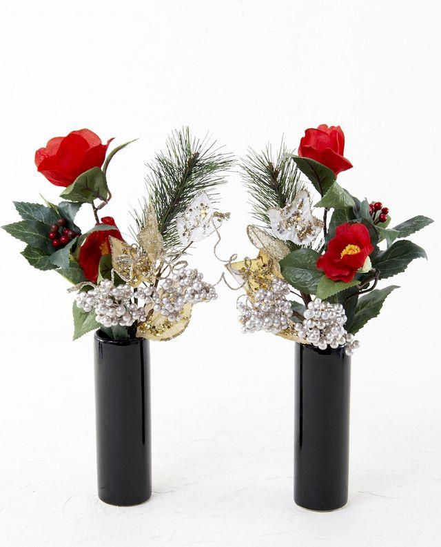 【造花 お正月・迎春用 ミニ供花】赤椿と松のミニ仏花セット(左右1対)