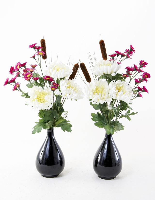【造花の仏花・供花】菊&ガマの穂の供花(左右1対セット)