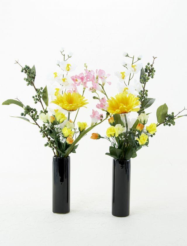 【お墓・仏壇用の造花 ミニ供花】ガーベラとフリージアのコンパクト仏花