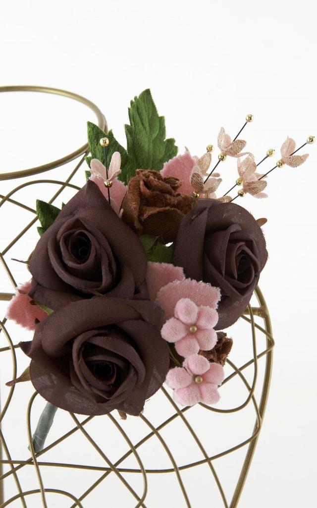 【特別価格SALE フォーマルコサージュ】ブラウン×ピンク
