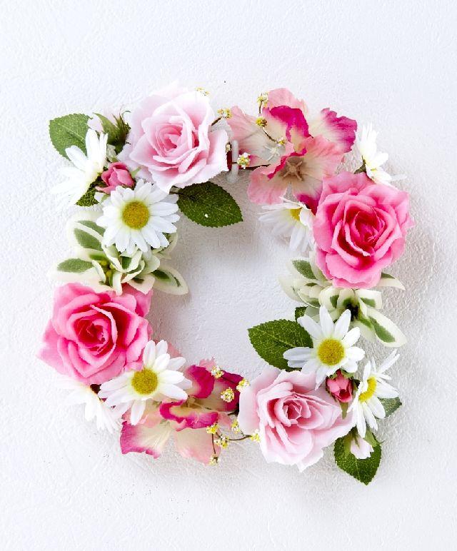 【造花・アーティフィシャルフラワーリース】ローズ&デージーリース /ピンク系