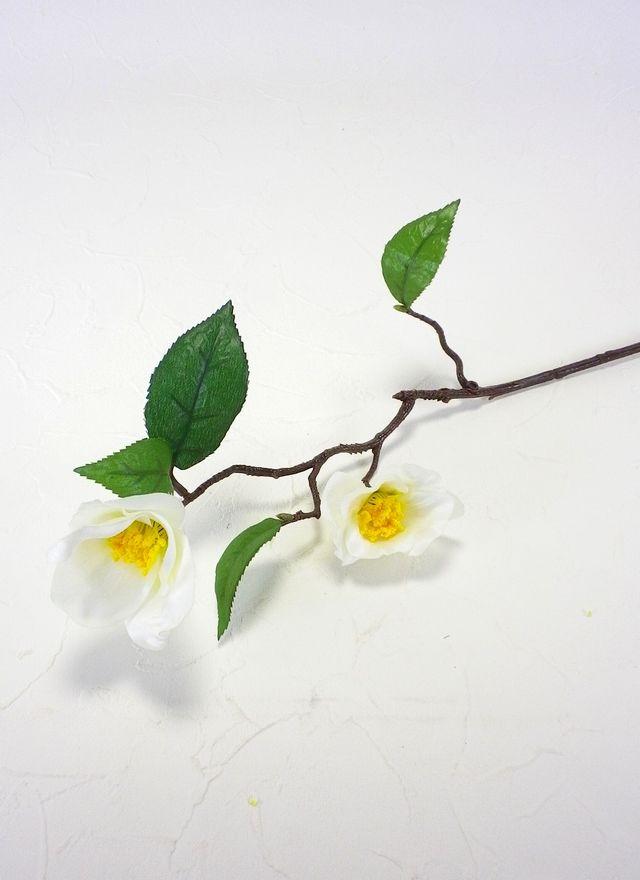 【造花・アートフラワー・シルクフラワー】椿(ホワイト)