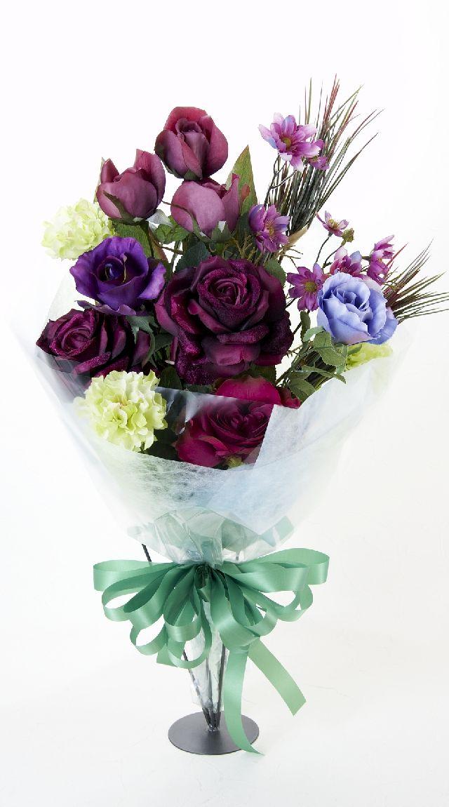 【贈答・贈呈用・ギフトの造花花束】ゴシックパープルローズ・ブーケ