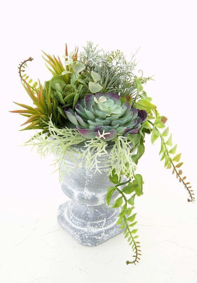 【造花インテリアグリーン】スタイリッシュな多肉植物アレンジC