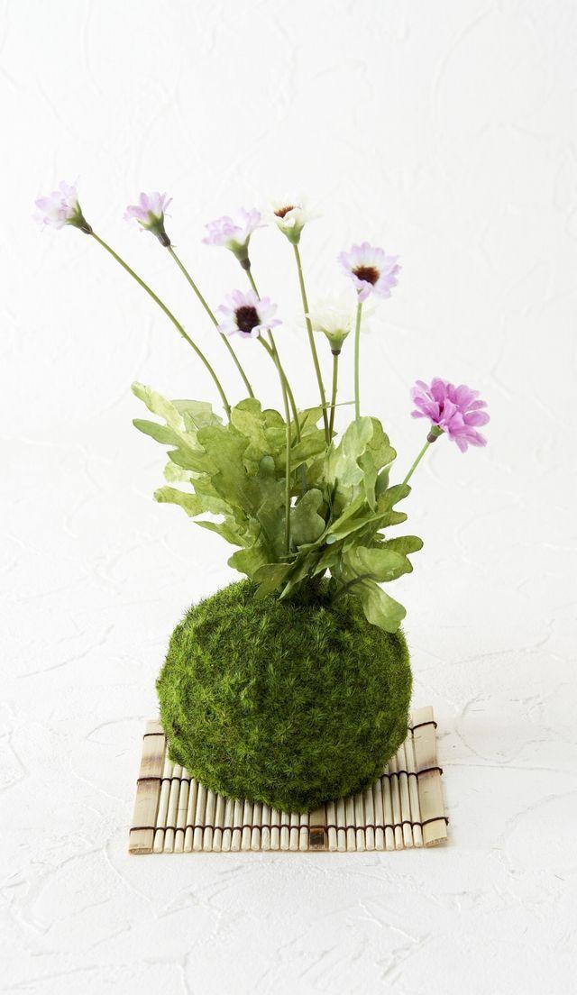 【造花 観葉植物 インテリアグリーン】こけ玉 ジャパーニーズモダンA(下皿付き)