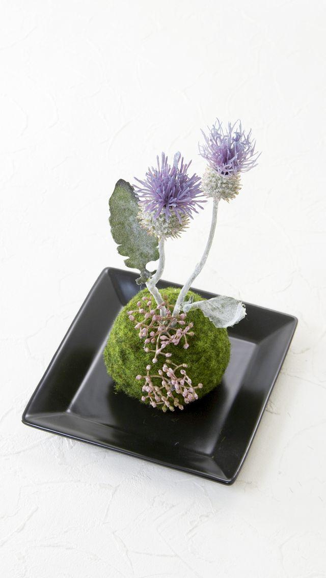 【造花 観葉植物 インテリアグリーン】こけ玉 ジャパーニーズモダンK(下皿付き)