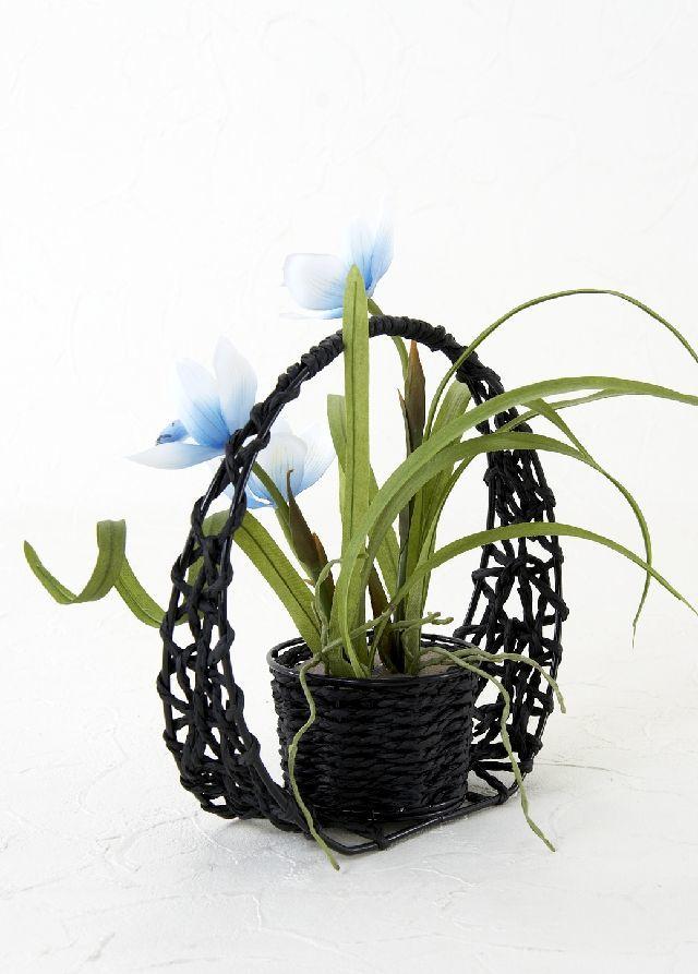 【造花・和風・ジャパニーズモダン】春蘭の和籠アレンジメント