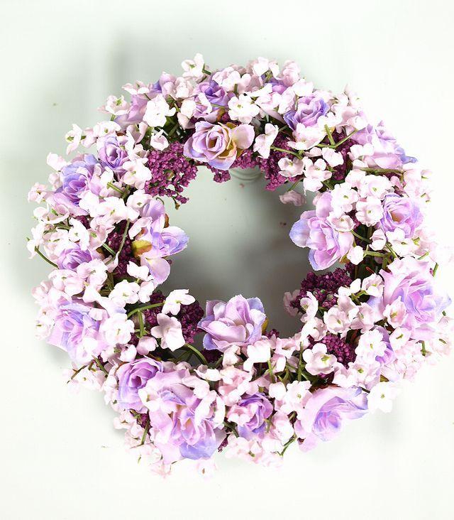 【造花リース】フェアリーローズ・リース(パープル